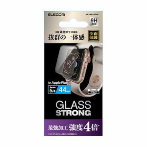 エレコム AW-19MFLGTRBK Apple Watch 44mm フルカバーガラスフィルム 3次強化 ブラック