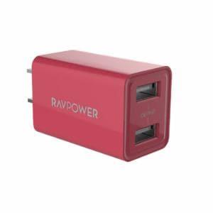 SUNVALLEY JAPAN RAVPower RP-PC125 microUSBケーブル付属 AC充電器(USB×2) ピンク 75-02000-459