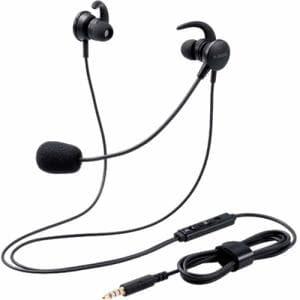エレコム HS-EP15TBK マイクアーム付インナーイヤー 両耳 4極 変換ケーブル付 ブラック