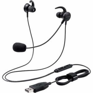 エレコム HS-EP15UBK マイクアーム付インナーイヤー 両耳 USB ブラック