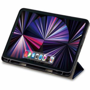 エレコム TB-A21PMSA360NV iPad Pro 11inch 第3世代 2021年モデル フラップケース 360度回転 スリープ対応 ネイビー