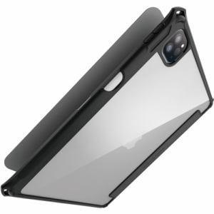 エレコム TB-A21PMZEROBK iPad Pro 11inch 第3世代 2021年モデル フラップカバー 背面クリア ZEROSHOCK スリープ対応 ブラック