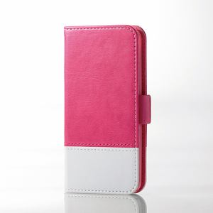 エレコム AVA-T17PLFDTPN iPod touch用ツートンレザー ピンク×ホワイト