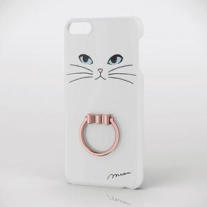 エレコム AVA-T17PVRJWH iPod touch用リング付きデザインケース 白ネコ