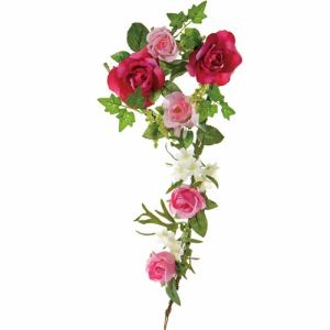 ポピー ローズリース FBC-8006 PBT ピンク リングφ10cm・全長38cm花径3.5~6.5cm・幅21cm