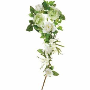 ポピー ローズリース FBC-8006 G/W グリーン リングφ10cm・全長38cm花径3.5~6.5cm・幅21cm
