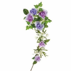 ポピー ローズリース FBC-8006 LAP ラベンダー リングφ10cm・全長38cm花径3.5~6.5cm・幅21cm