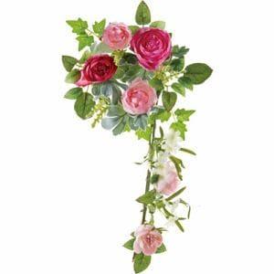 ポピー ラナンキュラスリース FBC-8007 P/W ピンク リングφ10cm・全長38cm花径3.5~6cm・幅21cm