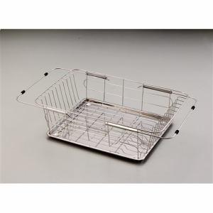 パール金属 ラクエラ ステンレス製スライド式水切りバスケット(ステンレストレー付) H-6619 ミラー
