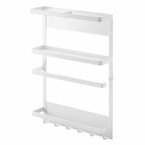 マグネット 冷蔵庫サイドラック プレート キッチン 収納 ホワイト 約24.5X6.5X34cm