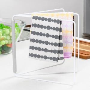 折り畳み布巾ハンガー プレート 山崎実業 ホワイト 約27.5~53.5(使用時)X2.2~54.5(使用時)X25cm