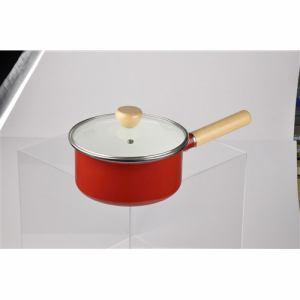 パール金属 アミュレット ホーローガラス蓋片手鍋18㎝ H-7686 レッド