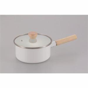 パール金属 アミュレット ホーローガラス蓋片手鍋18㎝ H-7679 ホワイト