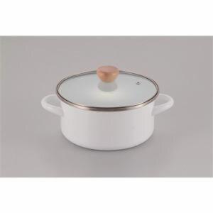 パール金属 アミュレット ホーローガラス蓋両手鍋 H-7681 ホワイト 20cm