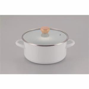 パール金属 アミュレット ホーローガラス蓋両手鍋 H-7682 ホワイト 22cm