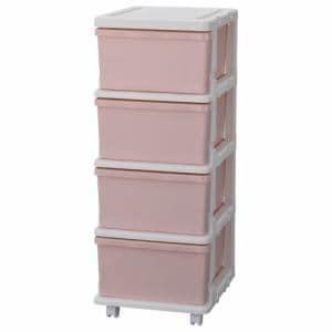 [幅35×奥行42×高さ88.3cm] 収納 チェスト プラスチック 引き出し キャスター付き カラーシーズユニット ピンク 4段 子供部屋収納