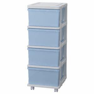 [幅35×奥行42×高さ88.3cm] 収納 チェスト プラスチック 引き出し キャスター付き カラーシーズユニット ブルー 4段 子供部屋収納