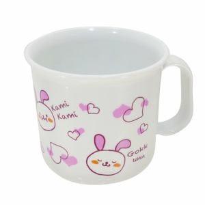 アサヒ興洋 食洗子供耐熱コップ もぐもぐうさぎ  ピンク 幅7.5cm 奥行7.5cm 高さ7cm