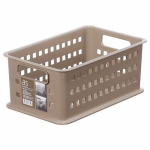 [幅21.5×奥行34.5×高さ14.5cm] 収納ケース 小物ケース プラスチック PCボックスケース asバスケット ブラウン #1