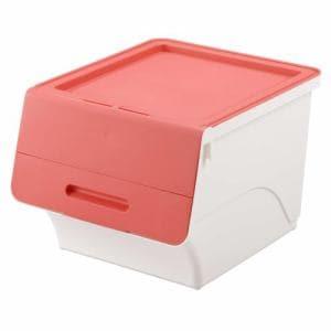 [幅38.5×奥行46×高さ31cm] 収納ケース  ピンク フタ付き 重ねたままで出し入れ可能