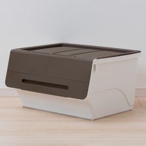 [幅57×奥行46×高さ31cm] 収納ケース  ブラウン フタ付き 重ねたままで出し入れ可能