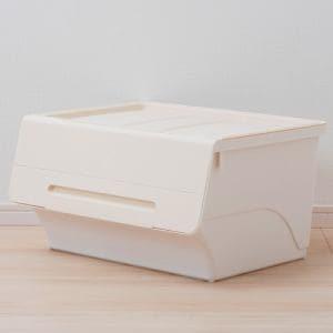 [幅57×奥行46×高さ31cm] 収納ケース  ホワイト フタ付き 重ねたままで出し入れ可能