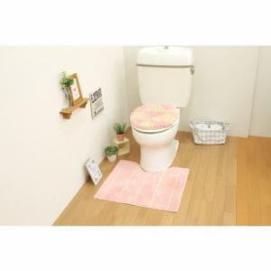 トイレ2点セット(トイレマット+O・U型共用フタカバー)ピンク サンベルム(株)