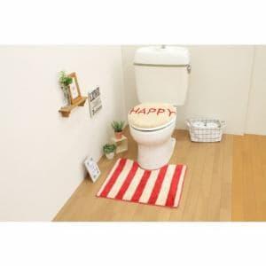 トイレ2点セット(トイレマット+O・U型共用フタカバー)レッド サンベルム(株)