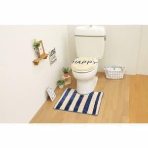 トイレ2点セット(トイレマット+O・U型共用フタカバー)ネイビー サンベルム(株)