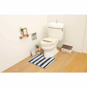 トイレ2点セット(トイレマット+洗浄・暖房用フタカバー)ネイビー サンベルム(株)