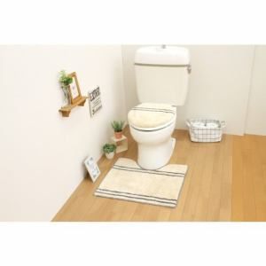 トイレ2点セット(トイレマット+O・U型共用フタカバー) ベージュ サンベルム(株)