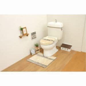 トイレ2点セット(トイレマット+洗浄・暖房用フタカバー) ベージュ サンベルム(株)