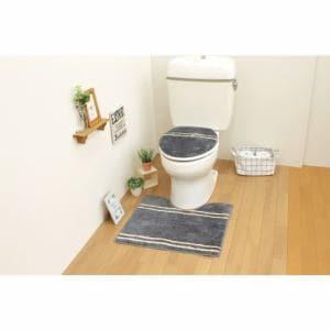 トイレ2点セット(トイレマット+O・U型共用フタカバー) グレー サンベルム(株)