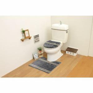 トイレ2点セット(トイレマット+洗浄・暖房用フタカバー) グレー サンベルム(株)