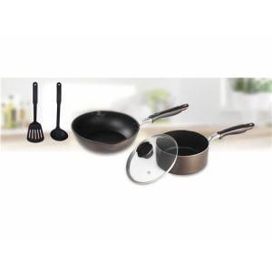 IH対応フライパン5点セット(フライパン+鍋+ガラスふた+お玉+ターナー)ブラウン 便利な調理用品