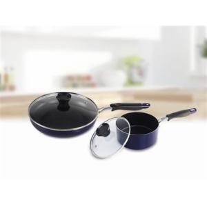 IH対応フライパン4点セット(フライパン+鍋+ガラスふた2点)ブルー 便利な調理用品