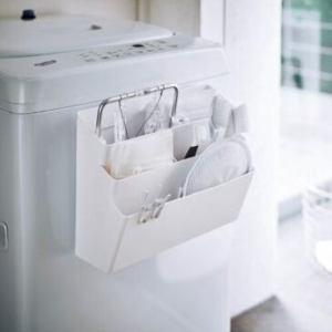 山崎実業 洗濯機横マグネット収納ポケット3段プレート
