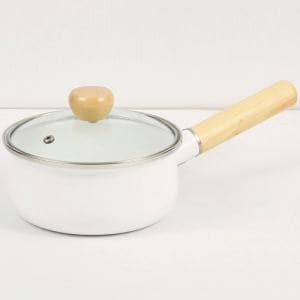 パール金属 HB-4898 ジャストサイズ IH対応ホーローガラス蓋片手鍋15cm(ホワイト)