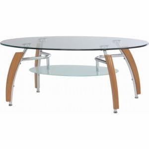 センターテーブル 強化ガラス使用 幅110x奥行60x高さ44cm ナチュラル 92608 アーク