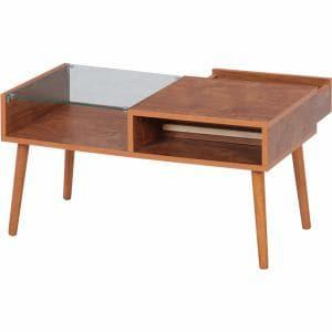センターテーブル お洒落な引出前板 幅80x奥行43x高さ42cm ミディアムブラウン 10034