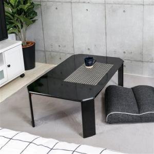 [幅75]ローテーブル 折りたたみ収納 UV塗装 幅75x奥行50x高さ32cm ブラック ルーチェ