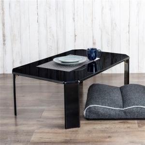 [幅90cm] テーブル ローテーブル 折りたたみ収納 UV塗装 ルーチェ ブラック