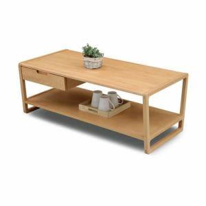 センターテーブル 棚板・引出し付 幅105x奥行50x高さ40cm ビーチナチュラル クラムビーチNA クラム