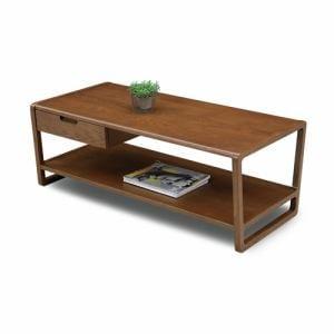 センターテーブル 棚板・引出し付 幅105x奥行50x高さ40cm ライトブラウン  クラムタモLBR クラム