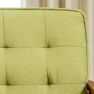 【処分特価】 [2人掛]ソファー 天然木の風合いのあるフレーム 幅115x奥行74x高さ80/41cm グリーン ヤマダオリジナル YS120007GR