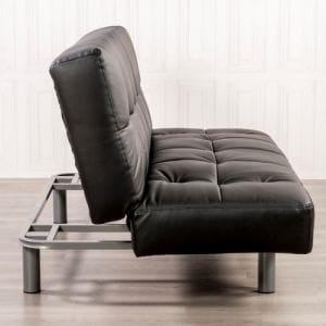 [3人掛] 合皮ソファーベッド 3人掛け以上 背もたれ3段階肘掛6段階角度調整 幅184x奥93x高さ87 ブラック ヤマダオリジナル