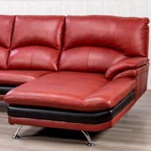 半革左カウチソファー 3人掛け以上 高密度ウレタンの快適な座り心地 幅237x奥178x高さ94cm レッド YCS150003RD ヤマダセレクト