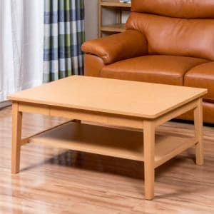 [幅100cm] Yセンターテーブル YCT170002NA100 ナチュラル 棚板付き 引き出し付き
