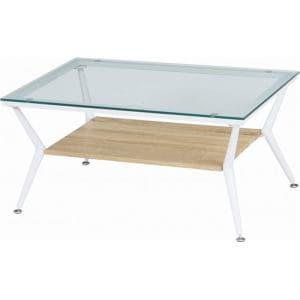 ガラスリビングテーブル クレア ナチュラル