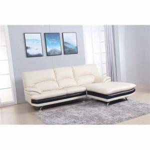 [3人掛以上]半革左カウチソファー 高密度ウレタンの快適な座り心地 幅237x奥178x高さ94 ホワイト  ヤマダセレクト